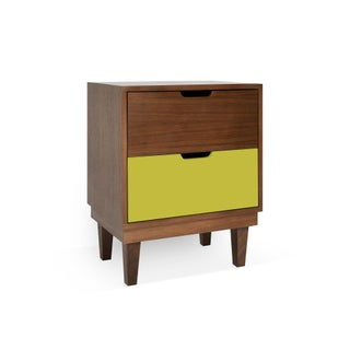Kabano Modern Kids 2-Drawer Nightstand in Walnut With Green Finish Preview