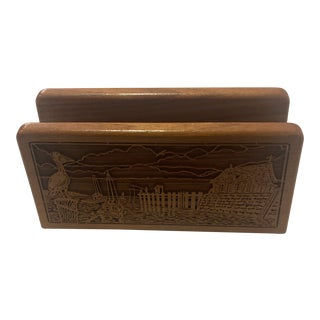 Walnut Napkin Holder with Pelican Nautical Scene For Sale