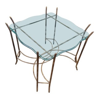 Hollywood Regency Brass and Glass Bent Twig Table For Sale