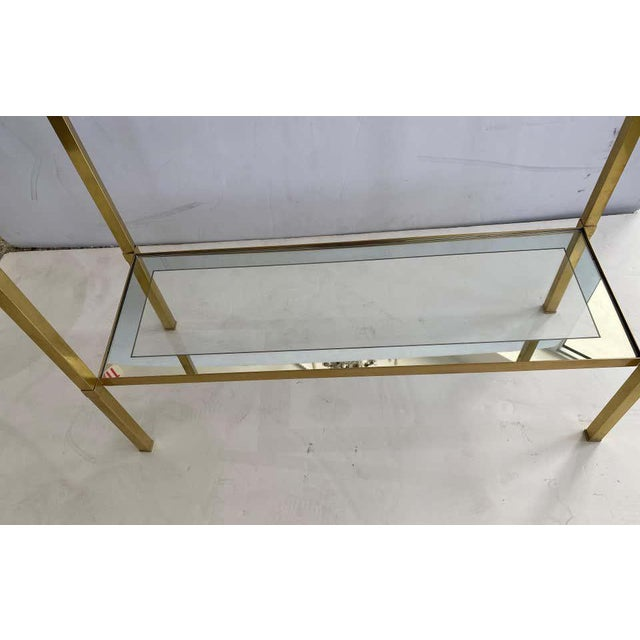 Brass Mastercraft Style Brass Console Table For Sale - Image 8 of 13