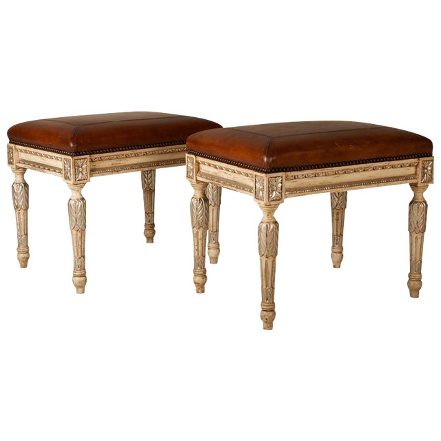 Louis XVI Style Leather Seat Ottomans - A Pair - Image 1 of 7