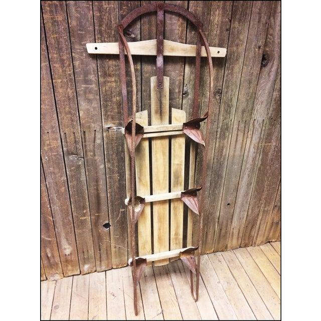 Vintage Brown Weathered Wood & Metal Runner Sled For Sale - Image 9 of 11