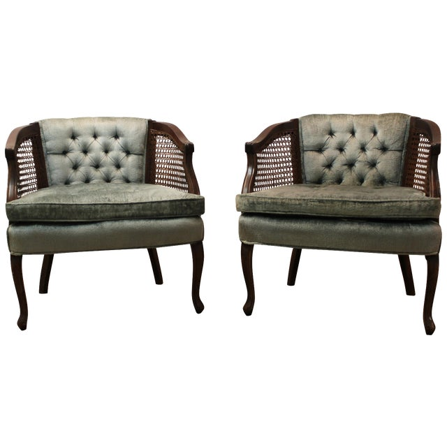 Cane & Tufted-Back Ladies Chairs - A Pair - Image 1 of 10