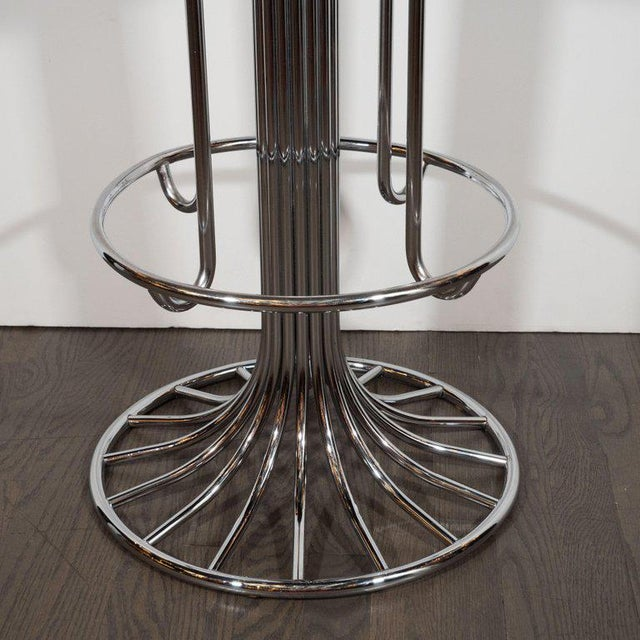 Mid-Century Modern Set of Three Mid-Century Modern Chrome and Dove Gray Swivel Bar Stools For Sale - Image 3 of 8