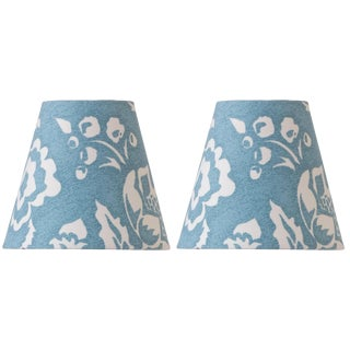 Madcap Cottage Delft Blue Floral Pattern Clip-On Chandelier Shades, Pair For Sale