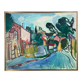 1960s Expressionist Style Abstract Village Scene, Framed For Sale