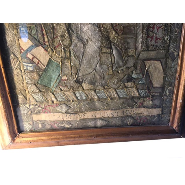 """Traditional Early 19th Century """"Moses Reading Scriptures"""" Silk Textile Art, Framed For Sale - Image 3 of 9"""