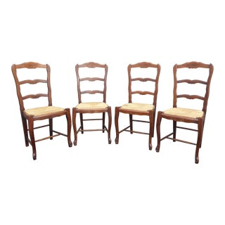 Vintage French Country Ladder Back Rush Seats Chairs - Set of 4