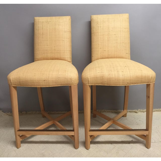 Brass 1980s Contemporary Donghia Raffia Bar Stools - a Pair For Sale - Image 7 of 7