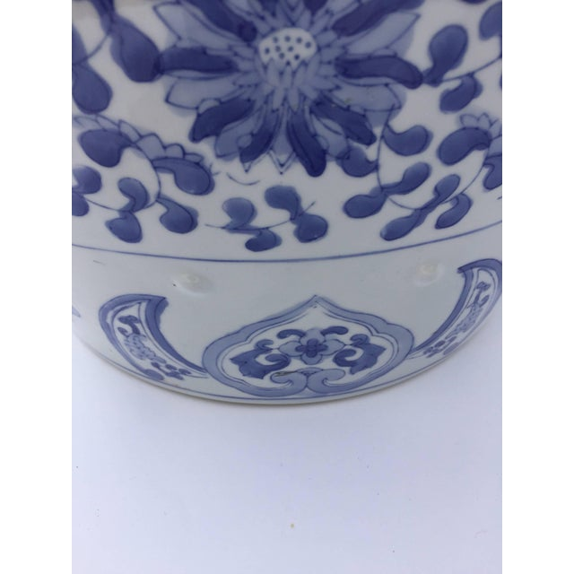 White Chinese Porcelain Garden Seat in Blue and White Floral Motif For Sale - Image 8 of 13