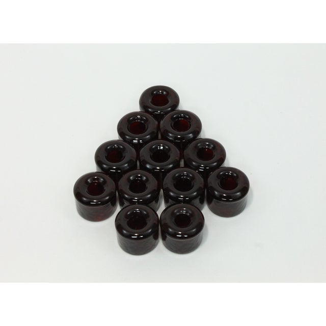 Blenko Blenko-Style Ruby Glass Candle Holders - Set of 12 For Sale - Image 4 of 4