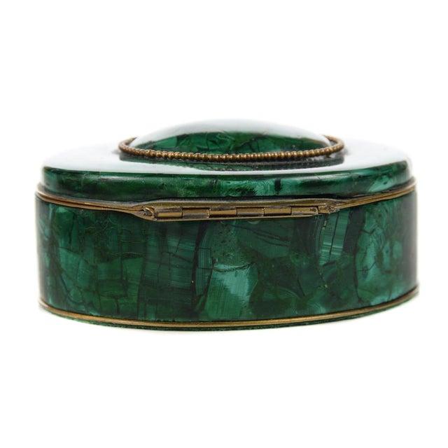 Russian Malachite Oval Compact Jewelry Box - Image 5 of 8