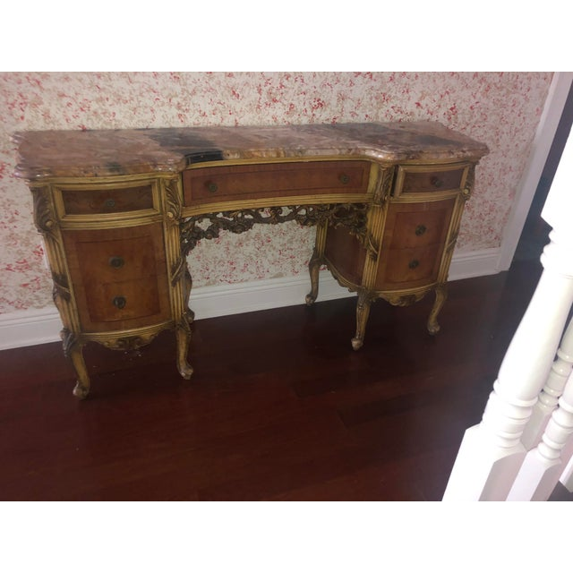 Antique Marble Top Vanity For Sale - Image 10 of 12
