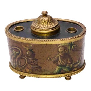 Antique French Chinoiserie Ink Well For Sale