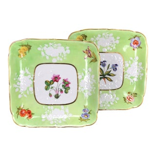 19th C. English Porcelain Botanical Subject Dessert Dishes - a Pair For Sale