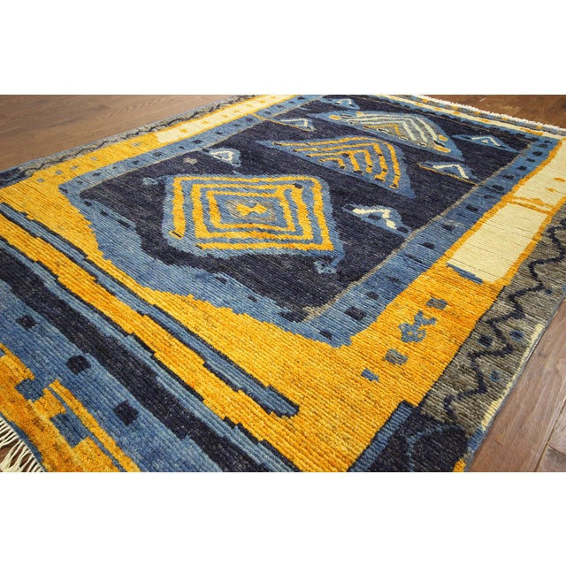 "Blue Wool Tullu Hand Knotted Rug - 7' 10"" X 10' 3"" - Image 5 of 10"
