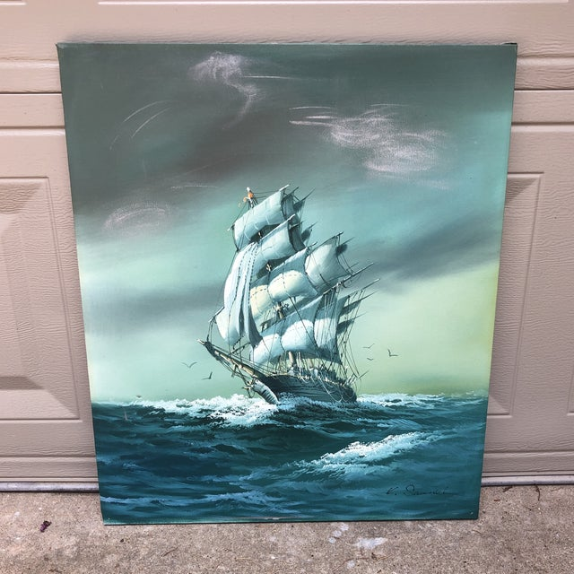 1970s Vintage Oil on Canvas Painting of Ship For Sale - Image 5 of 5
