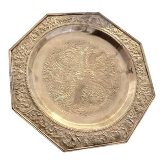 Chinese Octagonal Silver Footed Plate For Sale