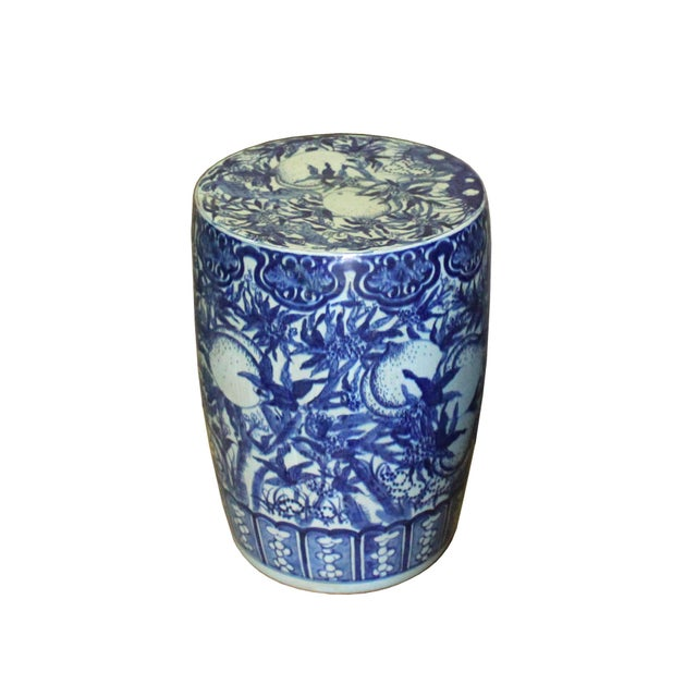 2010s Chinese Round Peach Flower Blue White Porcelain Stool Table For Sale - Image 5 of 7