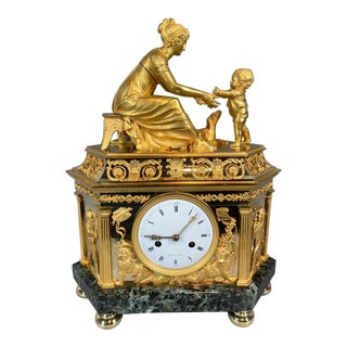 French Empire Antique Bronze Mantle Clock For Sale