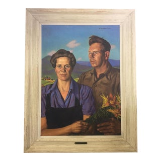 Vintage Mid-Century Portrait of Couple With Tiger Lilies Oil Painting For Sale