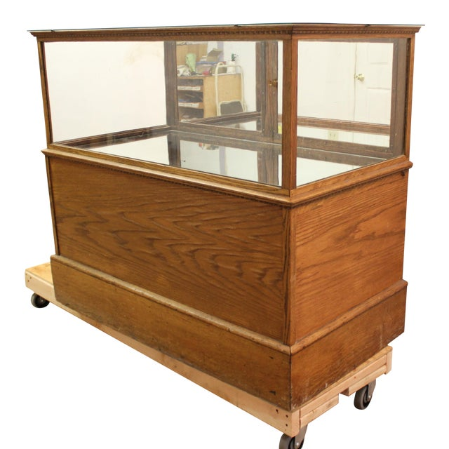 Antique Oak & Glass Mirrored Display Case - Image 2 of 11