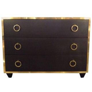 Goat Skin Brass Italian Luxury Goatskin and Brass Three-Drawer Dresser For Sale