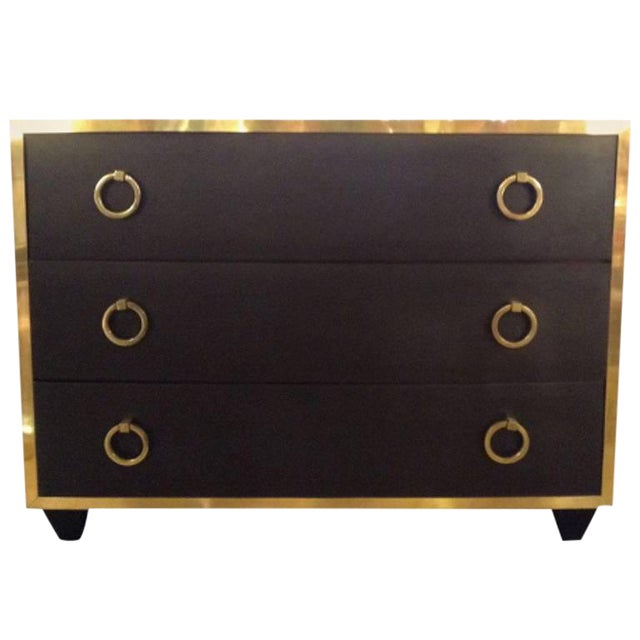 Goat Skin Brass Italian Luxury Goatskin and Brass Three-Drawer Dresser For Sale