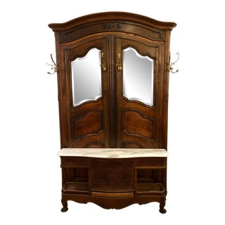 Antique Early 19th C French Carved Walnut Mirrored Hall Tree For Sale