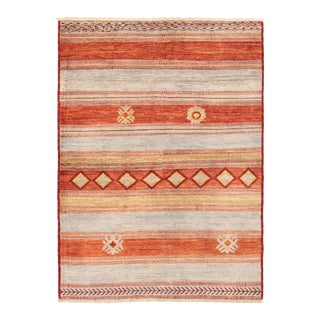 """Burnt Orange Bohemian Hand-Knotted Rug- 6'3"""" X 8'8"""" For Sale"""