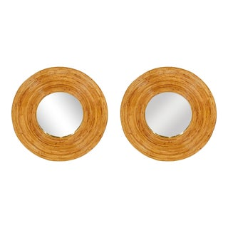Vintage Bamboo Circular Mirrors - a Pair For Sale