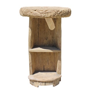 Rustic Raw Wood Round Top Open Display Stand Table For Sale