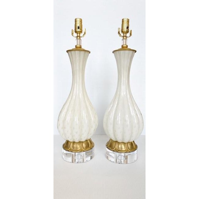 Vintage Gold and White Barbini Murano Lamp Vintage - a Pair For Sale - Image 9 of 9