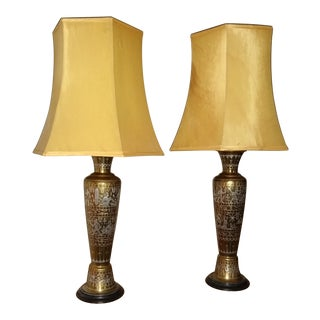 Vintage Inlaid Silver and Brass Engraved Electric Lamps - a Pair For Sale