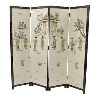 Oriental Carved Soapstone Geisha Girl Dressing Screen Room Divider 4 Panel Vtg For Sale