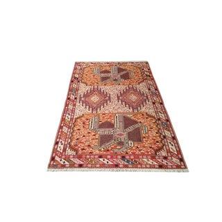 Vintage Persian Silk Soumak Handmade Rug - 4x6