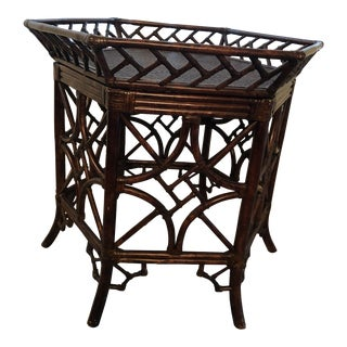 1960s Burnt Bamboo Rattan Tray Table For Sale