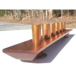 Vintage Mid-Century Walnut & Copper Candle Holder Preview