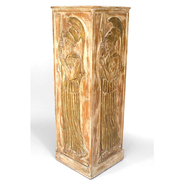 Attributed to Palladio, a pair of large 1940s Italian neoclassical style stripped pine and gilt trimmed large square...