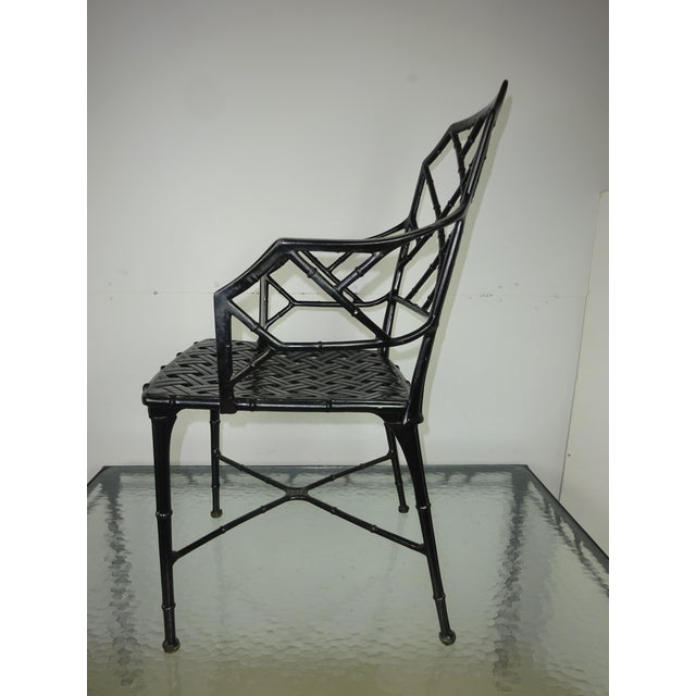 Brown Jordan Calcutta Faux Bamboo Table & Arm Chairs For Sale - Image 10 of 12