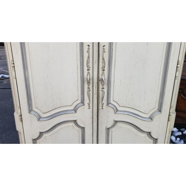 Century Furniture Painted White Century Furniture French Provincial Double Door Bedroom Tv Armoire Cabinet C1990s For Sale - Image 4 of 12