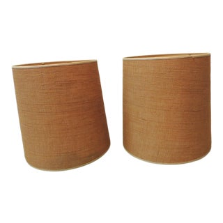 Pair of Tan Color Vintage Burlap Lamp Shades For Sale