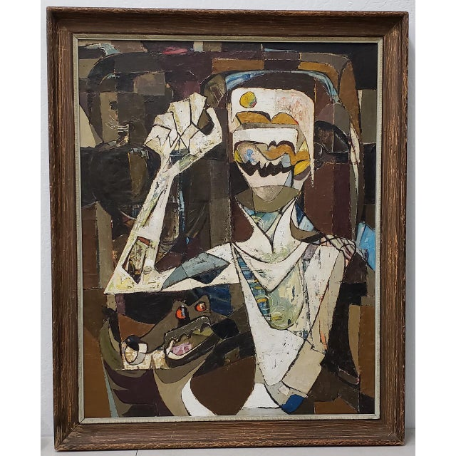 Abstract Portrait of Boy With His Dog Painting C.1940 For Sale - Image 12 of 12