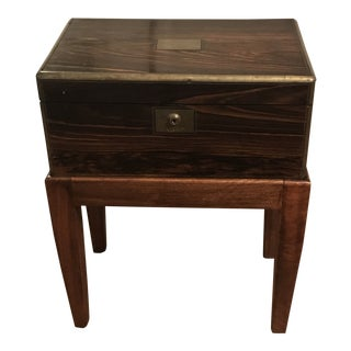 1860 Campaign Rosewood Lap Desk on Stand Side Table or Small Coffee Table For Sale