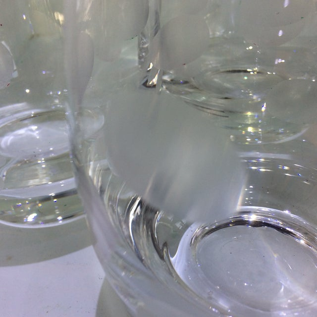 Mid-Century Modern Style Crystal Roly Poly Heavy Bottom Whiskey Glasses With Etched Polka Dots - Set of 6 For Sale - Image 10 of 13