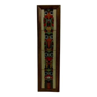 Circa 1980 Vintage Wood Framed Painted Tile Totem