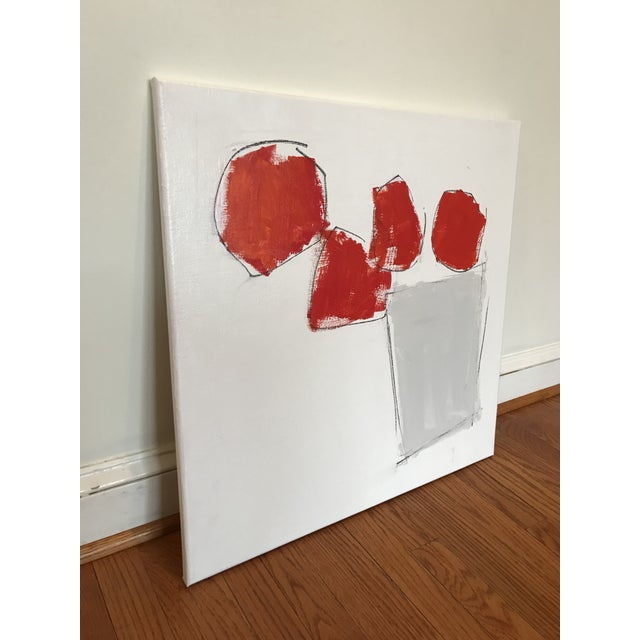 Abstract Blooms in Red Contemporary Painting For Sale - Image 3 of 5