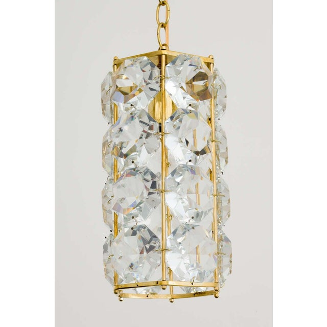 Mid 20th Century German 1960s Gilt Brass and Hexagonal Crystal Chandeliers - a Pair For Sale - Image 5 of 7