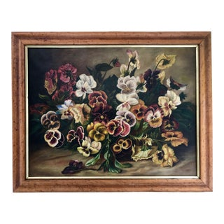 Antique 19th Century Early American Floral Still Life Oil Painting Pansies Birds Eye Maple Frame For Sale