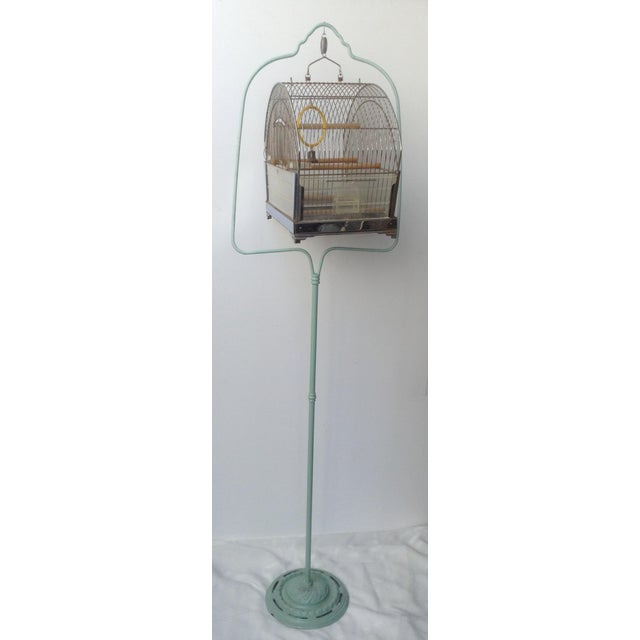 This adorable bird cage on stand reminded me of Tweety Bird from the vintage cartoons so I just had to buy it. Hooped iron...